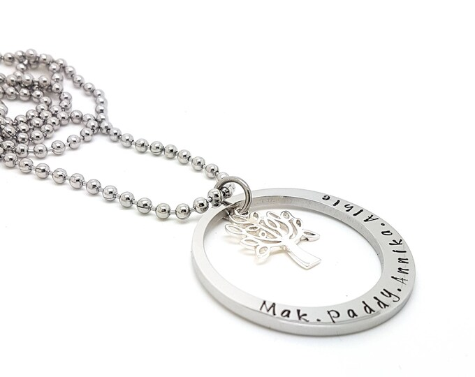 Family tree family names tree of life pendant personalised jewellery hand stamped name necklaces silver family name pendants aloadofball Image collections