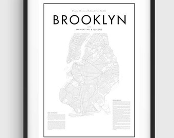 Minimal Brooklyn Map Poster, Black & White Minimal Print Poster, Art, Home Art, Minimal Graphics, New York Poster, Map Home Decor