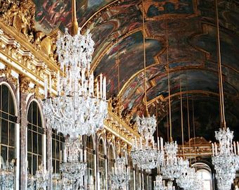 Hall of Mirrors Photography - Versailles Chandelier Print - French Decor Elegant Gold Crystal Glamorous France Photo Dining Room Art