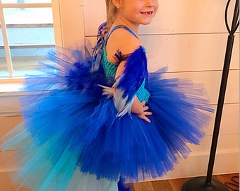 Parrot costume, macaw costume, parrot tutu, halloween costume, pageant outfit, parrot, blue tutu, blue parrot, rio, birds or rio, blue macaw