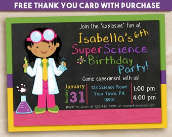 Science party invitation. Scientist Girl 5x7. FREE THANK YOU Card!