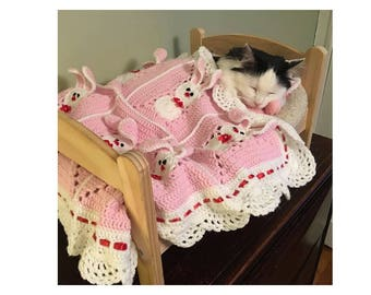Custom order! Crochet Puppy or Kitty Blanket with bunnies - rabbits/Cat Dog Lover Blanket/ Pet Blanket/gifts for pets/Pet Bedding/Photo Prop
