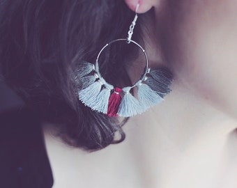 Gray silver buckles and Bohemian bordeaux