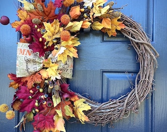 Fall Door Wreaths, Fall Decor, Thanksgiving Wreaths, Leaves, Fall Colors, Wreaths for Fall