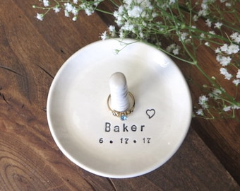 Ring holder, Ring dish, Wedding Gift, Engagement Gift, Personalized Gift for Couple, Ring Cone, Bridal Shower Gift, White Ring Dis