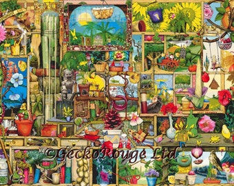 Modern Cross Stitch Kit, EXTRA LARGE, Bookcase, Advanced, The Garden Cupboard, Colin Thompson, Stitching, Counted NeedleCraft Kit, Gardening