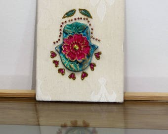 Gift for home, Hearts Hamsa, Embroidery wall hanging, Hand embroidery, fiber art, Embroidery art
