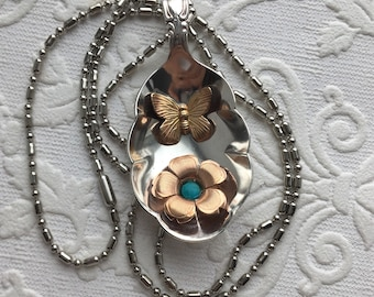 Springs promise sugar spoon pendant with butterfly flower and turquoise