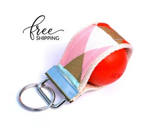 LippyLoop™ EOS Holder Keychain, Coral Mint Gold Geometric  | Free Shipping