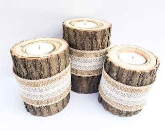 Real Log Tea Light Candle Holders With Burlap and Lace Band Perfect for Rustic, Country Homes, and Weddings