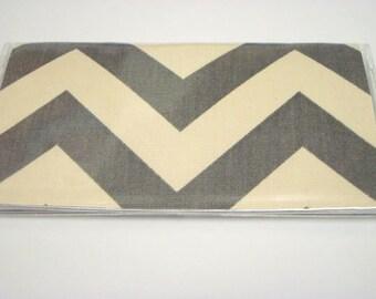 Checkbook Cover , Holder - Chevron Zig-Zag -Gray and Natural