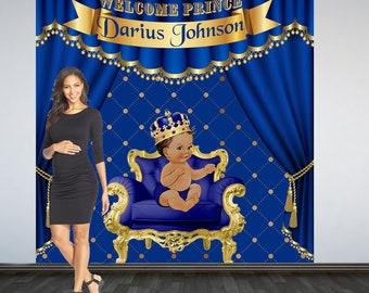 Royal Prince Baby Shower Photo Backdrop, Baby Prince Photo Booth Backdrop, Little Prince Party Backdrop, Royal Blue Prince Party Backdrop
