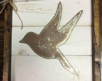 Framed Bird Sign