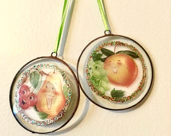 Libby's Fruit Ad Ornament, Holiday Ornament, Vintage Christmas 1950s
