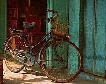 Bicycle turquoise black gold bicycle turquoise wall photograph  Malaysia Asia travel wall decor decorative art