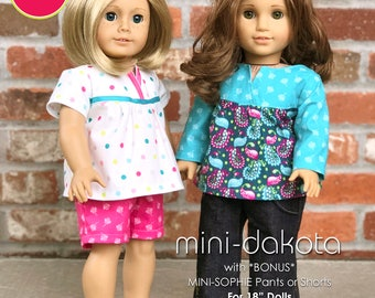 """Mini Dakota Top and Mini Sophie Pants or Shorts PDF Downloadable Pattern by MODKID... for 18"""" Dolls - Instant Download"""