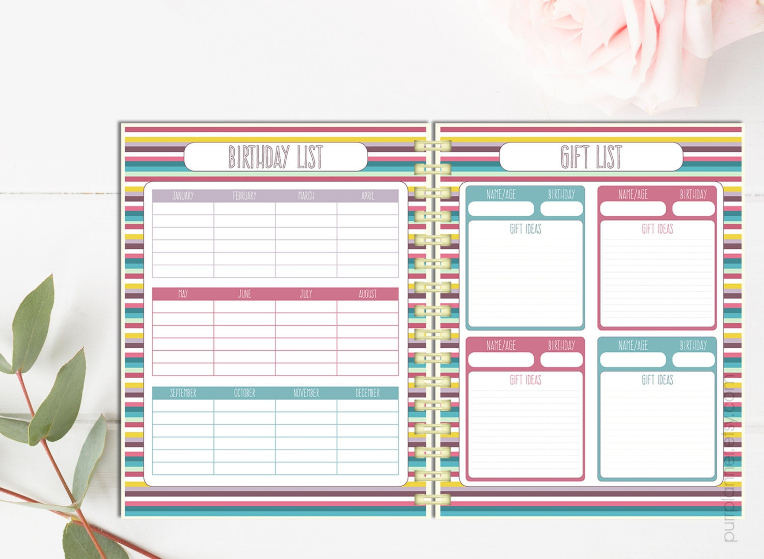 Printable birthday tracker gift Ideas list personal gift
