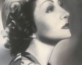 Claudette Colbert Black and White Oil Painting
