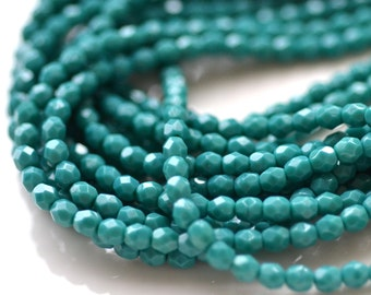 Persian Turquoise 4mm Faceted Fire Polish Round Beads   50
