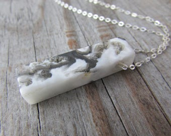 Agate Pendant, natural agate slab necklace, silver chain, agate spike