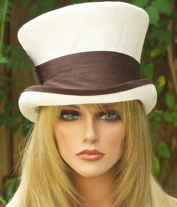 Top Hat, Derby Hat, Wedding Hat, Mad Hatter, Brown and Ivory Hat, Ascot hat