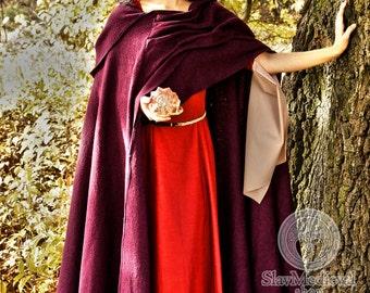 "Medieval Woolen cloak ""AUTUMN PLUM"" with hood. renaissance cape Cosplay, Larp, Elves, Magic, Fairy"