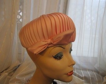 Vintage Pink Accordion Pleated Hat, James Shop, Baltimorer, Ca Late 1950s, Early 1960s