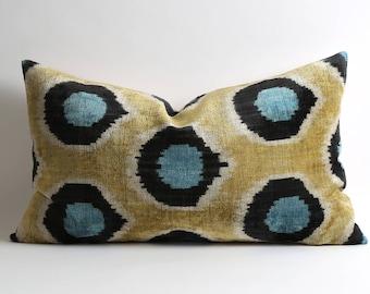 16x26 ikat bedding decor pillows Lumbar velvet ikat pillow cover silk ikat cushion