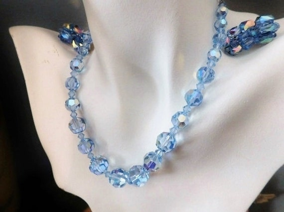 Aurora Borealis Necklace and Earrings / Blue Crystal Jewelry /Mid Century