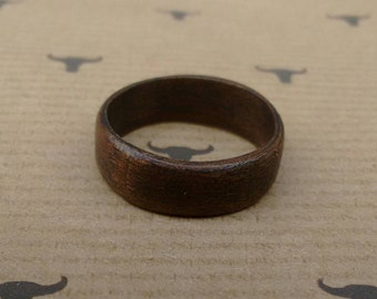 Bent Wood Ring - American Walnut - Dark - Any Size Made to Order.