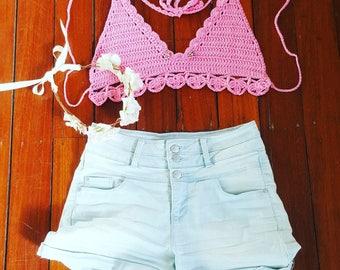 Flower Petal Crochet Bikini Top