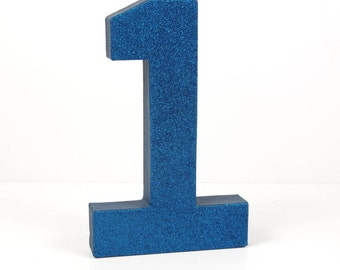 Navy Blue Glitter Number 1 - First Birthday - Party Decor - Minions Party - Despicable Me Birthday - Big Number for Birthday Party