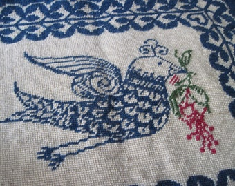Vintage Whimsical Bird Needlepoint Cover