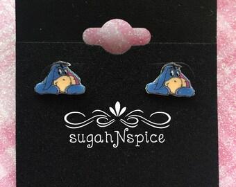 Eeyore Earrings - Winnie the Pooh Earrings - Eeyore Studs - Donkey Earrings