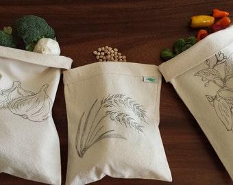 3 Pcs. Organic Reusable Food  Bags