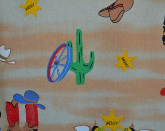 Novelty fabric toddler boys western Cowboy fabric Cowboy baby shower Old West kids room novelty print cowboy baby nursery