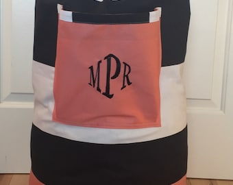 Monogrammed Laundry Duffel Bag, Coral, Black & White Cabana Stripe, Laundry Bag, Laundry Bag for College, Hanging Laundry Bag, Cloths Hamper
