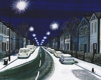 "Greetings card: ""Snowy night in Peckham"" -  winter birthday card, snow scene, winter street, London, night, from a painting by Liz Clarke"