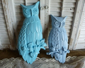Vintage Upcycled Blue Owls Wall Hanging Nursery Decor Cottage Chic