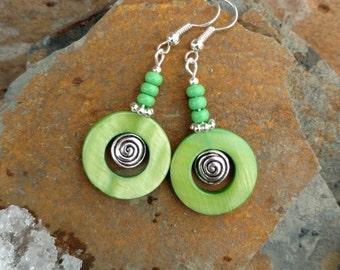 Green Shell Earrings, Lime Green Shell Spinner Silver Earrings, Green Shell Hoop Earrings,  Lime Green Earrings