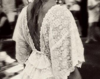 Lace bustle top