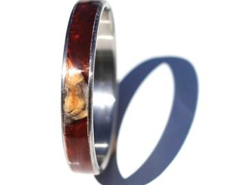 Handmade woodturned Buckeye Burl & red resin Bangle Bracelet on stainless steel core
