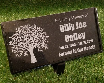 "Personalized Tree Planting Ceremony Stone Memorial Engraved Marker Granite 6"" x 12"" garden stones"