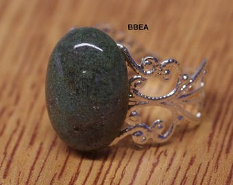 Ring Moss Agate, diabetes, 13x18mm setting adjustable 19mm stone.