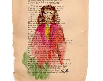 """To see a Brave Look in a Woman's Eyes, Original Altered Book Page Art, ~6x9"""""""