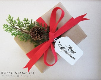 Merry Christmas Stamp - Holiday Stamp - Christmas Stamp - Gift Tag Stamp - Envelope Stamp