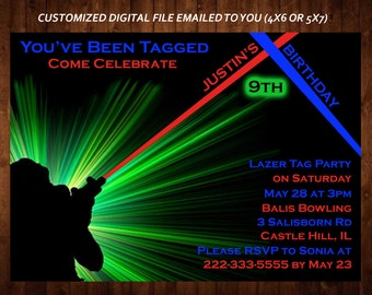 LASER TAG Themed Birthday Party Invitation, Laser Tag Custom Kid's Party Invitation, Custom Digital File, DIY Print