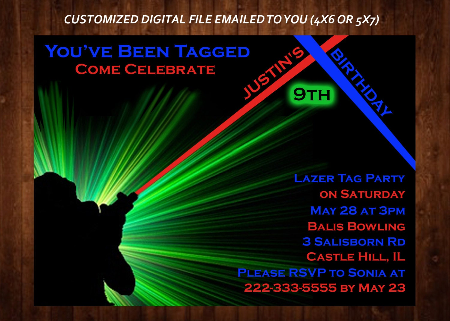 LASER TAG Themed Birthday Party Invitation Laser Tag Custom