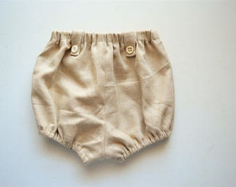 Gender Neutral Linen Tab Bloomer Shorts Infant and Toddler, Handmade by Papoose Clothing