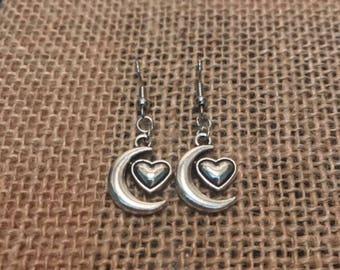 Heart & Moon Earrings